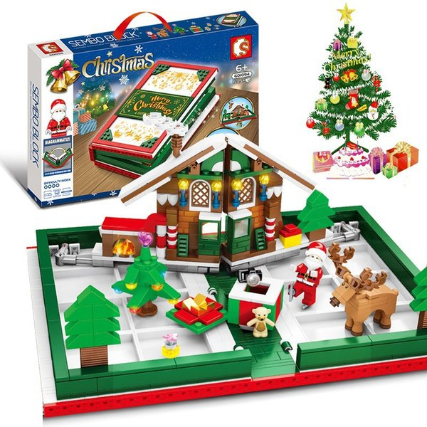 best selling Building blocks Christmas Santa Claus Elk Folding Three-dimensional Booklet Children's Puzzle Assembly Toys Holiday Gifts Gifts