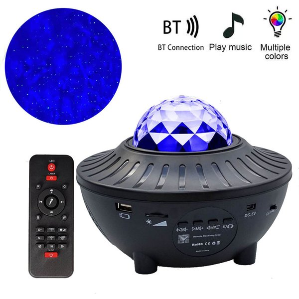 top popular 2021 New Galaxy Projector Ocean Wave Led Music Player Remote Star Rotating Night Light Luminaria for Kid Bedroom 0pnv 2021