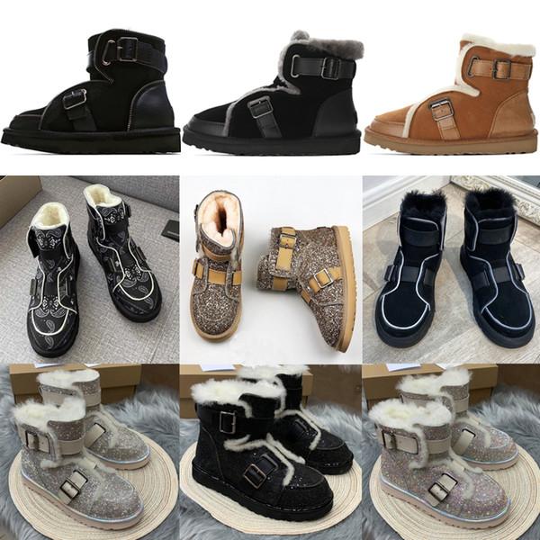 top popular 2020 Designer women australia australian boots women winter snow fur furry satin boot ankle booties fur leather outdoors shoes #NH 2021