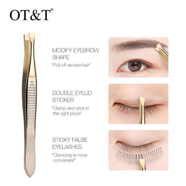 best selling OT&T Bevel Hirakuchi Eyebrow Tweezer Hair Beauty Slanted Puller Stainless Steel Eye Brow Clips Hair Removal Makeup Tool 0295