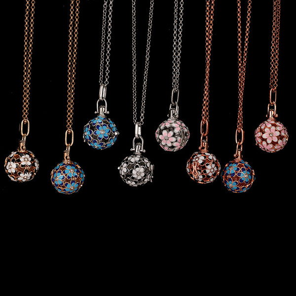 best selling Silver Rose Gold Flower Cage Pendant Necklace Big Ball Locket Pendant with Chain for Edison Pearl or Bead 9-12mm Love Wish Women Jewelry