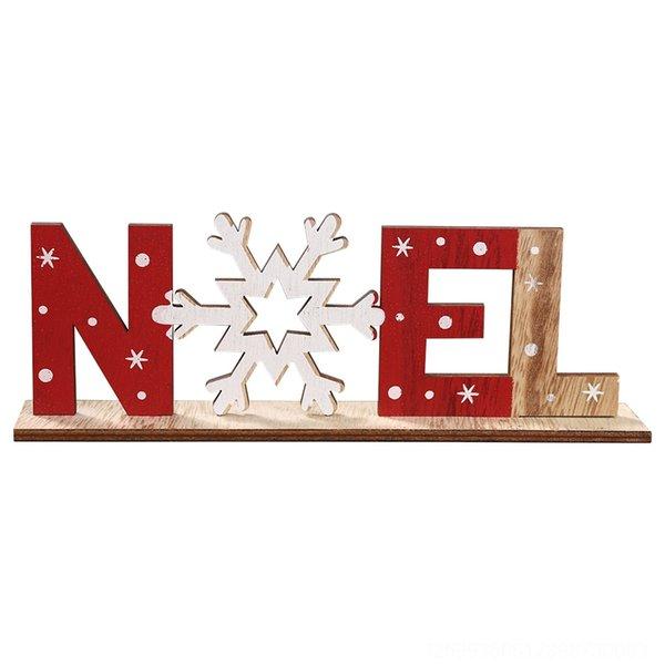 Wood Printed Letter Ornament Noel Snowfl