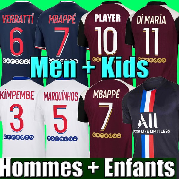 best selling 20 21 Thai soccer jersey MBAPPE VERRATTI 2020 2021 MARQUINHOS KIMPEMBE DI MARIA KEAN football Jersey soccer tops men shirt and kids sets