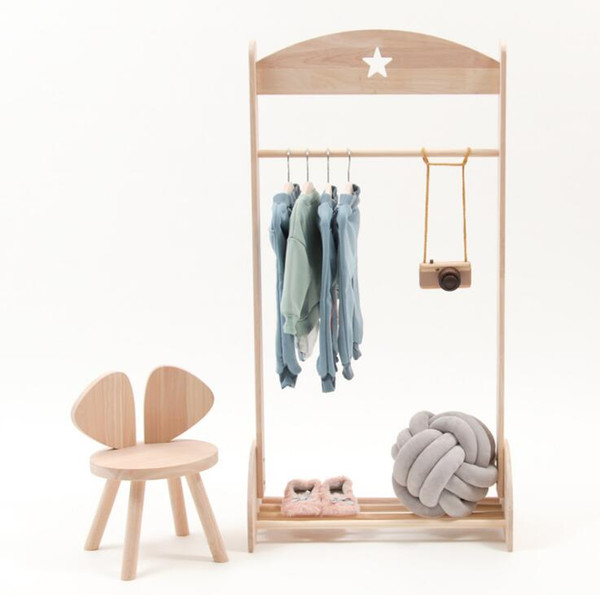 top popular Nordic style children's room decoration solid wood floor star clothes hanger children's clothing store shooting props 2021