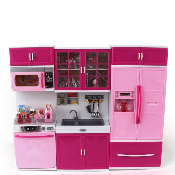 best selling Kids Large Children  27s Kitchen With Sound And Light Girls Pretend Cooking Toy Play Set Pink Simulation Cupboard Gift Toy Food LJ201009