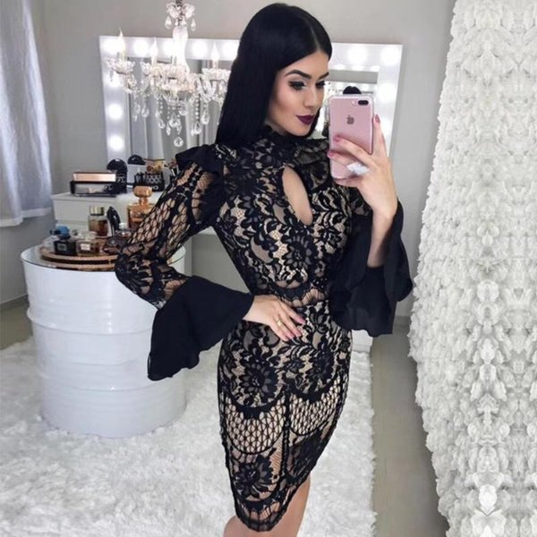 seamyla new fashion bandage dresses women long sleeve black lace celebrity party dress vestidos bodycon clubwear dress 20201, Black;gray