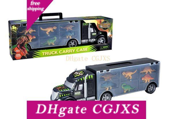 top popular Dinosaur Transport Truck Toy Set 6 Dinosaur And Trailer Truck Baby Dinosaur Toys Pickup Truck Kids Gift Home Display L501 2020