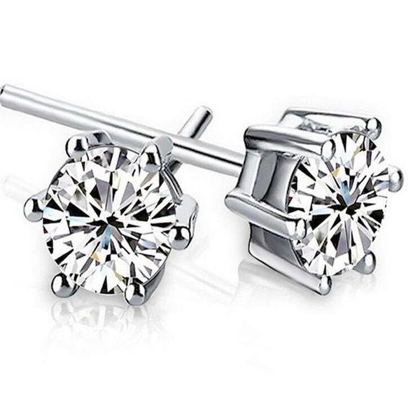 best selling Dropshipping Noble 925 Sterling silver Shining Diamond Crown Stud earrings Fashionable Sweden Jewelry beautiful wedding   engagement gift