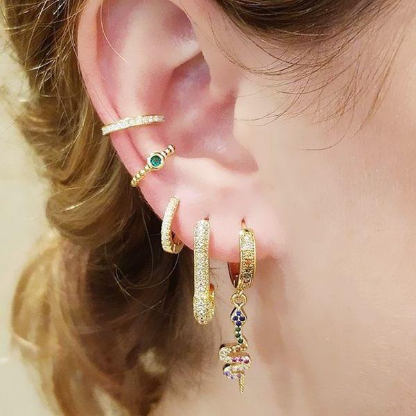 top popular dangle dangling snake charm rainbow cz paved drop cz hoop elegance women earring sexy animal trendy Jewelry wholesale 2021