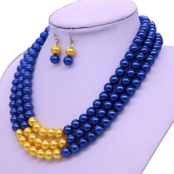 best selling Abadon Newest Fashion Handmade Blue Yellow Multi Strand Layers Pearl Choker Statement Necklaces Sigma Gamma Rho Symbol Jewelry Y200730