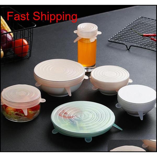 top popular Home 6 Pcs  Set Universal Food Sile Cover Reusable Sile Caps Stretch Lids For Cookware Food Pot Kit qylizA bdetoys 2021