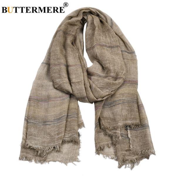 top popular BUTTERMERE Men Scarves Autumn Winter Cotton Linen Scarf Men Khaki Black Navy Pink Khaki Warm Long Fashion Brand Mens Scarfs 201026 2021