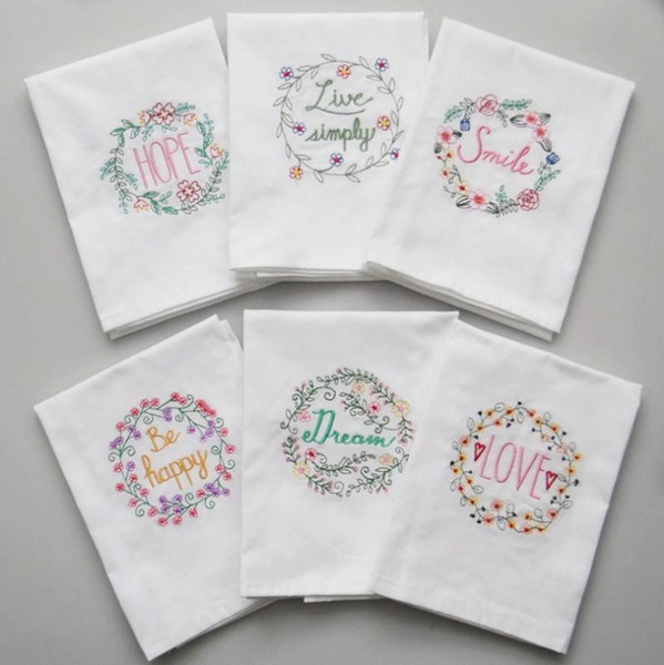 top popular Embroidered Napkins Letter Cotton Tea Towels Absorbent Table Napkins Kitchen Use Handkerchief Boutique Wedding Cloth 5 Designs NWF1196 2021