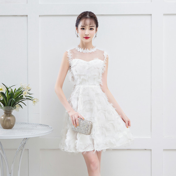 Luxury Sexy Knee Length Short Elegant Tassels White Cocktail Dresses Short Formal Cocktail Dress Party Graduation Dresses 1179