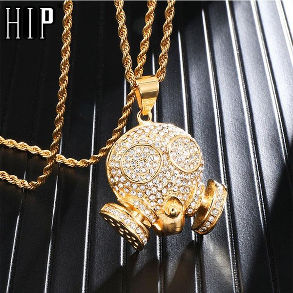hip hop skull titanium stainless steel iced out bling full micro pave rhinestone skeleton pendant & necklace for men jewelry, Silver
