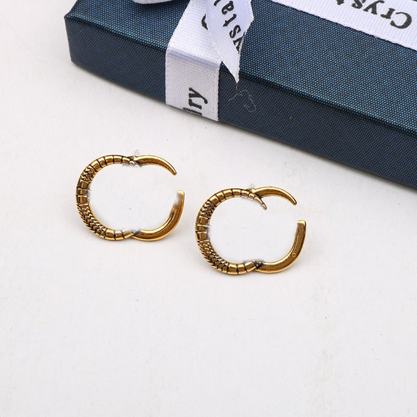 best selling Vintage Metal Earrings Studs Double Letters Earrings Ladies Designer Earrings Charm Earring Women Earring Jewelry Gift