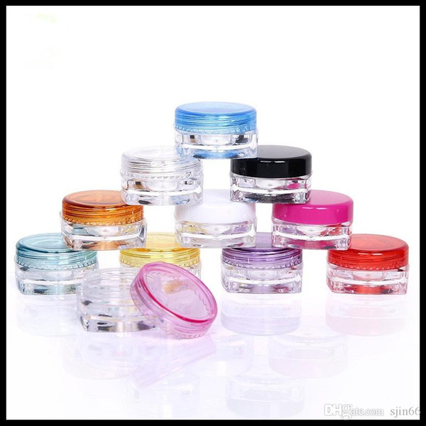 top popular 3g 5g Cosmetic Package Jar Square Bottom Trial Cream Jar Empty Plastic Colorful Sample Bottle 1000pieces lot 2021