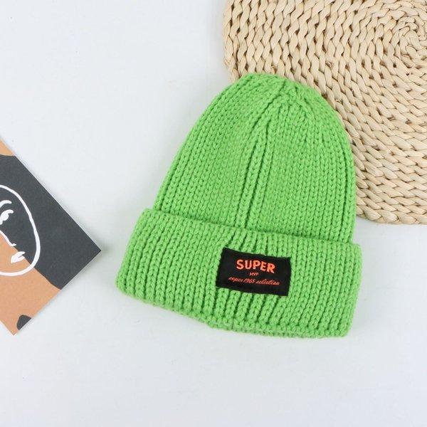 Sombrero de lana de etiqueta de súper tela - hierba verde