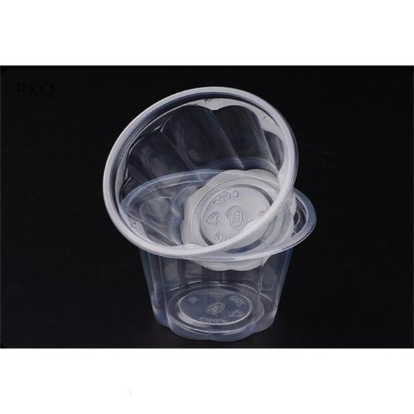 top popular Lid 100pcs Disposable Clear Cups Pudding Cup Small Plastic Containers Dessert Box Wedding Birthday Party Suppl 2021