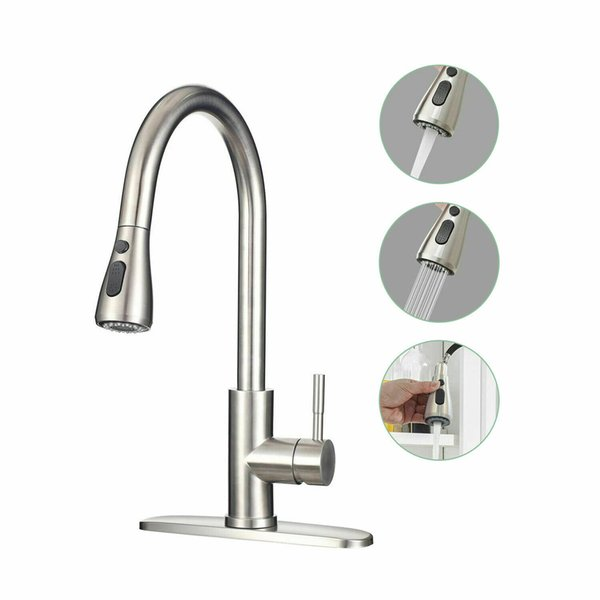 top popular Commercial Kitchen Faucet Stainless Steel Single Handle with Pull Out pulldown pull down Sprayer 2021