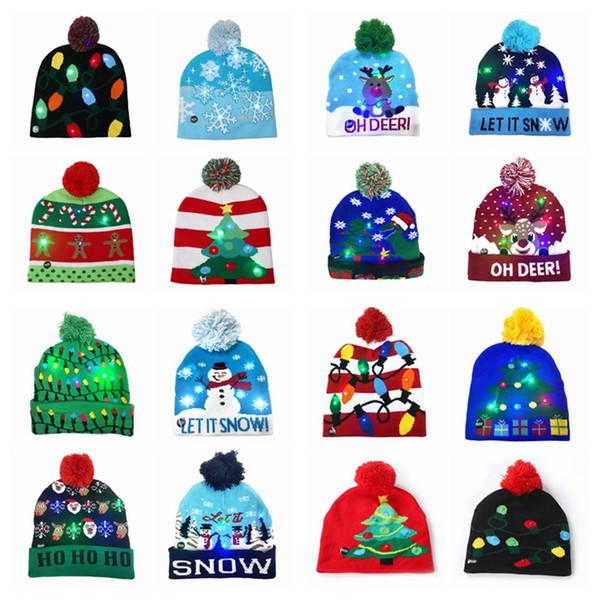 top popular 16 style Led Christmas Halloween Knitted Hats Kids Baby Moms Winter Warm Beanies Pumpkin Snowmen Crochet Caps ZZA 2021