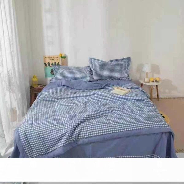 best selling Muji Style Washed Cotton Summer Quilt Four-Piece Summer Quilt Stripes Good Air-Conditioning Quilt Thin Factory Direct Sales