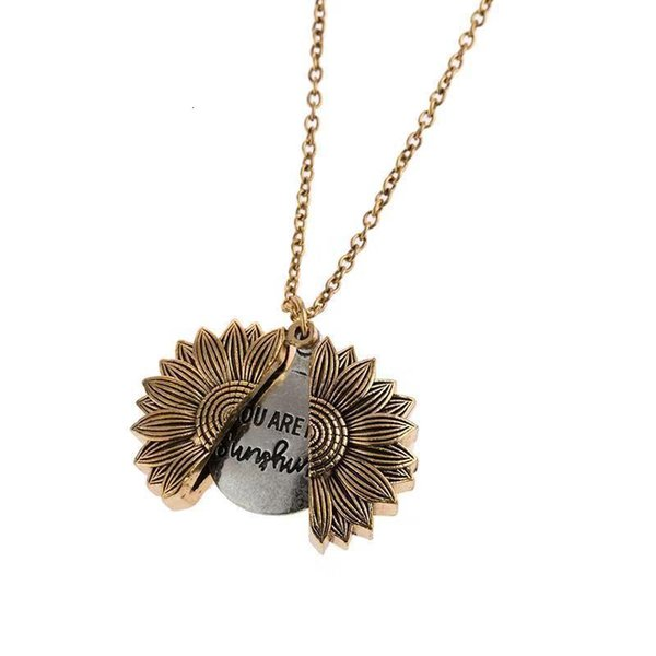 Fashion accessory Alloy Flower sunflower double layer lettering Necklace can open the clavicle chain 1UJEI all about making you beautiful