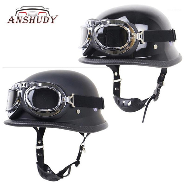 best selling Motorcycle Retro Half Helmet Outdoor Riding Protective with glass capacete for Locomotive Motorbike DOT1