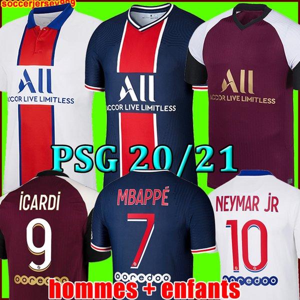 top popular MBAPPE NEYMAR JR ICARDI soccer jersey 20 21 Maillots de football shirts 2020 2021 KEAN VERRATTI men + kids kit uniforms enfants maillot foot 2020