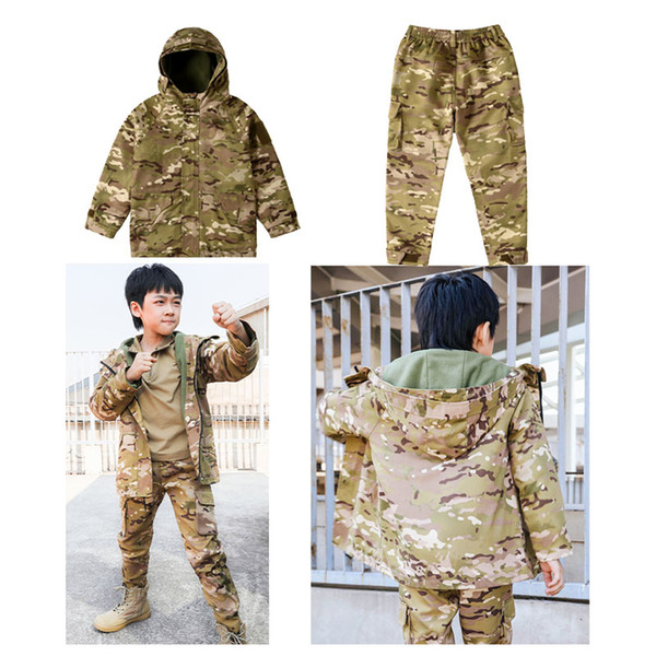 best selling Outdoor Sports Airsoft Gear Jungle Hunting Woodland Shooting Coat Pants Set Combat Children Clothing Camouflage Kid Child Jacket NO05-224
