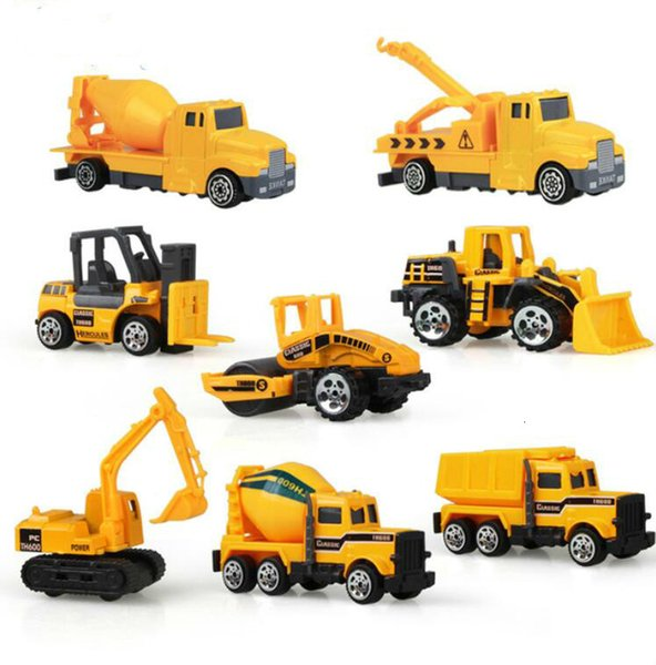top popular 8Pcs Set Mini Alloy engineering Car Tractor Toy Dump Truck Model Classic Toy Mini Gift For Boy Free Shipping 2020