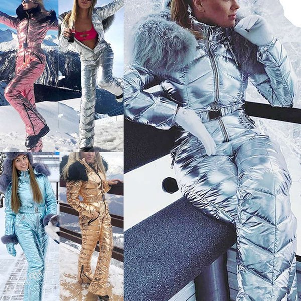 best selling Suit Women One-piece Fashion Hooded With Fur Collar Outdoor Snowboard Jacket Windproof Warm Cotton Clothing Jumpsuit Ski Set
