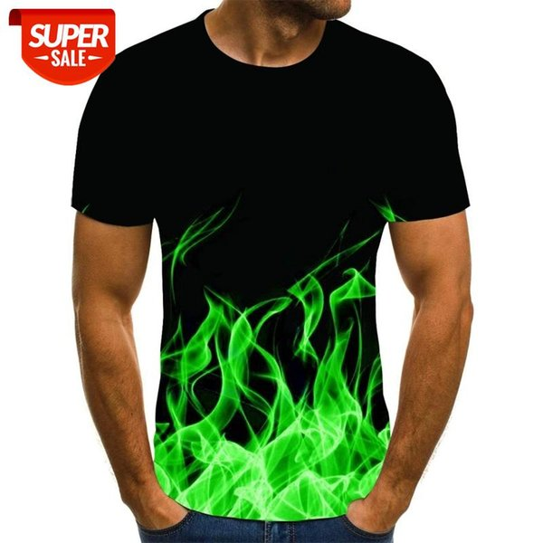 best selling Great Quality Fashion Sale New Men's Summer Round Neck Short Sleeve Blue Green Red Purple Flame 3D Print Top #WK8t