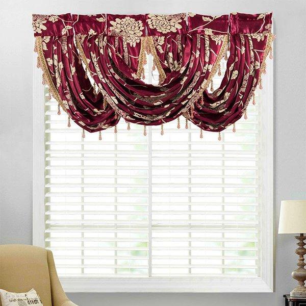 best selling European Royal Luxury Valance Curtains for Living Room Door Kitchen Short Pelmet Roman Drapes Jacquard Fabric Window Drapes 1PC
