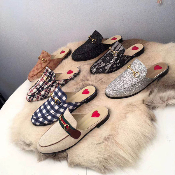 best selling 2021 New Women Loafers Autumn Winter Warm Wool Slippers Classic Metal Buckle Embroidery Stylist Shoes High Quality Men Leather Half Slippers