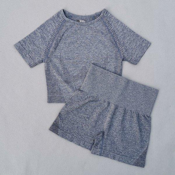 Gray Blue 2 Pcs Set