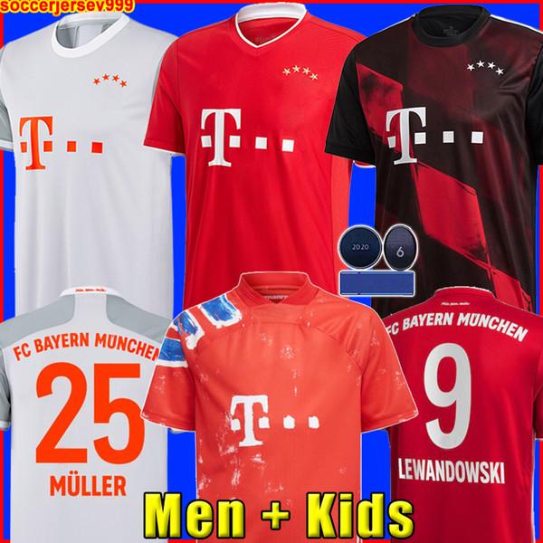 top popular Bayern Munich 20 21 LEWANDOWSKI SANE soccer jersey COMAN MULLER DAVIES football shirt Men Kids kit MUNCHEN 2020 2021 HUMANRACE fourth 4th 2020