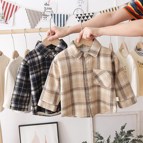 best selling Fashion Boys Shirt New Plaid Style Kids Long Sleeve Shirts Children's Cotton Clothes Baby Boy Girls Thicken Blouses Velvet Tops