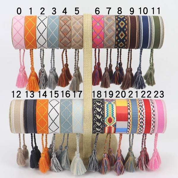 best selling New Cotton woven Letter Embroidery tassel bangle Lace-up Bracelet Adjustable Festival bracelets jewelry gift party beauty