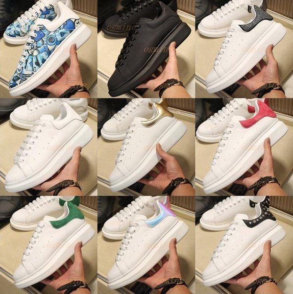 top popular with box Top Quality 2021 Lace-up Casual Platform Men Women Shoe Balck suede White Gold Leather falt Sneakers fashion Men womens Shoes 2021