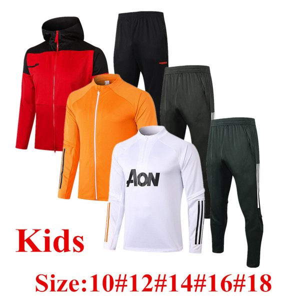 top popular Thailand 2020 B.FERNANDES Child Jacket Survetement GREENWOOD 20 21 RASHFORD kids Tracksuit soccer jerseys MARTIAL POGBA Youth training suit 2021