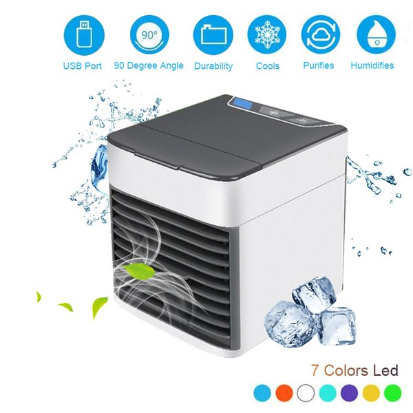 best selling FreeShipping Household Mini Air Conditioner USB Personal Space Cooler Portable 7 Color LED Air Cooler LCD Digital Display Desktop Fan