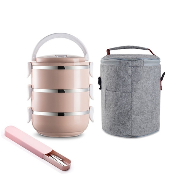 best selling Japanese Style Lunchbox Thermo Stainless Steel Plastic Round Adults Lady Kid Food Container Multifunction Portable Bento Box Set 201210