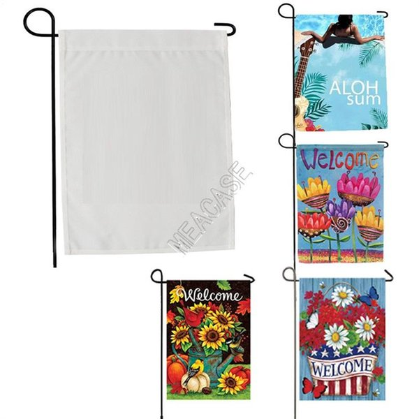 top popular Sublimation Polyester Fiber Blank Garden Flags For Valentine's Day Easter Day Hot Transfer Printing Banner Flags Consumables D102904 2021