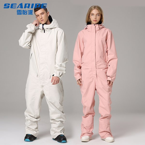 best selling One-Piece Ski Suit Men and Women Suit Waterproof Outdoor Jumpsuit Casual Thick Winter Warm Snowboarding Set 201203
