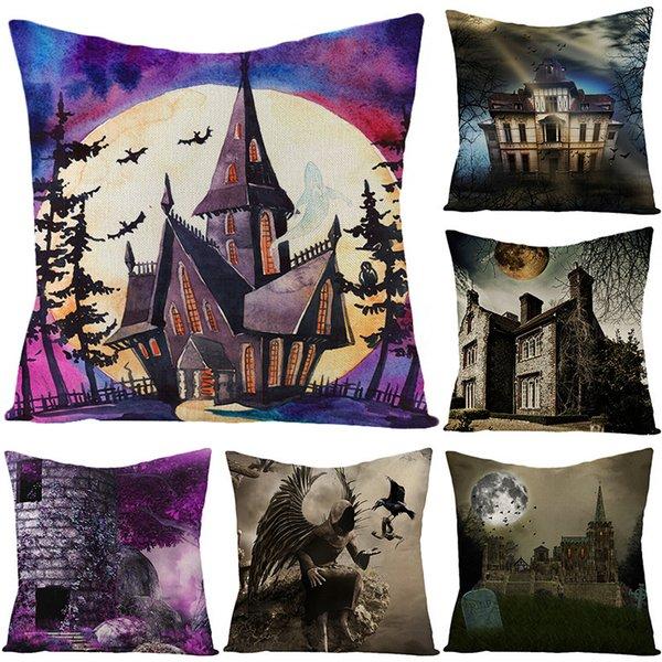 best selling Cover 2020 New Halloween Linen Pillow Castle Cushion Waist Pillow Case Home