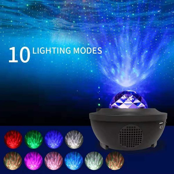 best selling 2021 New Usb Starry Sky Projector Music Red and Green Star Water Pattern A-tmosphere Laser Projection Night Light R928