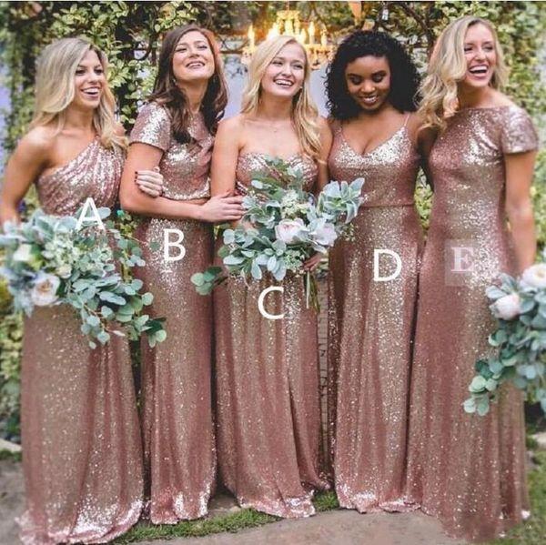 top popular DHL Bridesmaid Dresses Simple Designs Bling Rose Gold Sequined Bridesmaid Dresses Long Sexy Floor Length Boho Plus Size Custom Made BM0233 2021