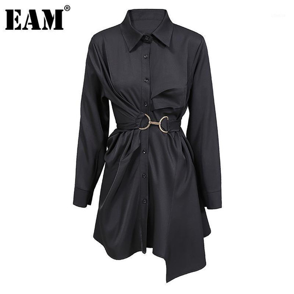 eam] women big size pleated metal circle blouse new lapel long sleeve loose fit shirt fashion tide spring autumn 2020 1dd07181, White