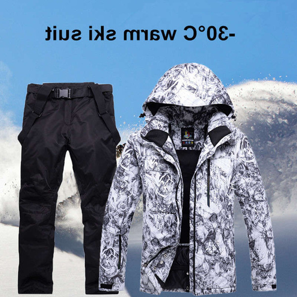 top popular New Mens Ski Suit Super Warm Waterproof Windproof Snowboard Jacket Winter Snow Pants Suits Male Skiing Snowboarding Sets 2021